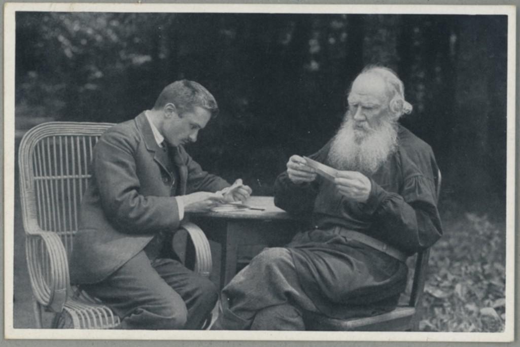 Valentin Bulgakov se Lvem Tolstým v Jasné Poljaně (1910)