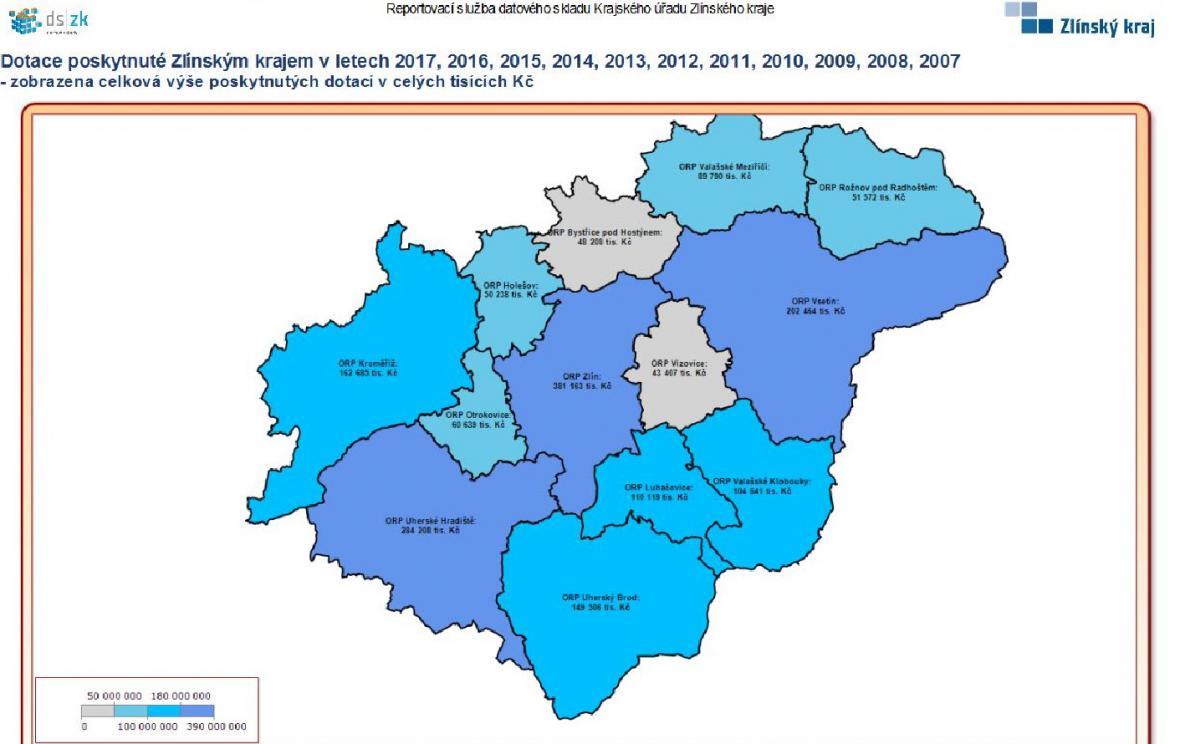 Nejvíc dotací dostalo za posledních deset let Zlínsko, Vsetínsko a Uherskohradišťsko