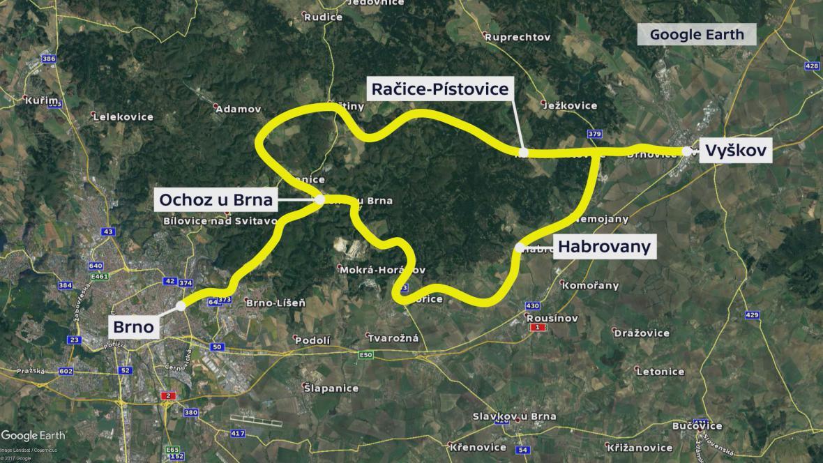 Objízdné trasy z Vyškova do Brna