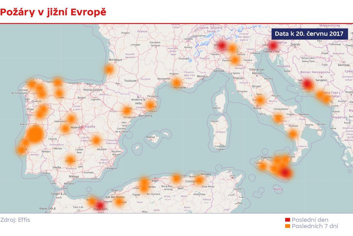 Požáry v jižní Evropě