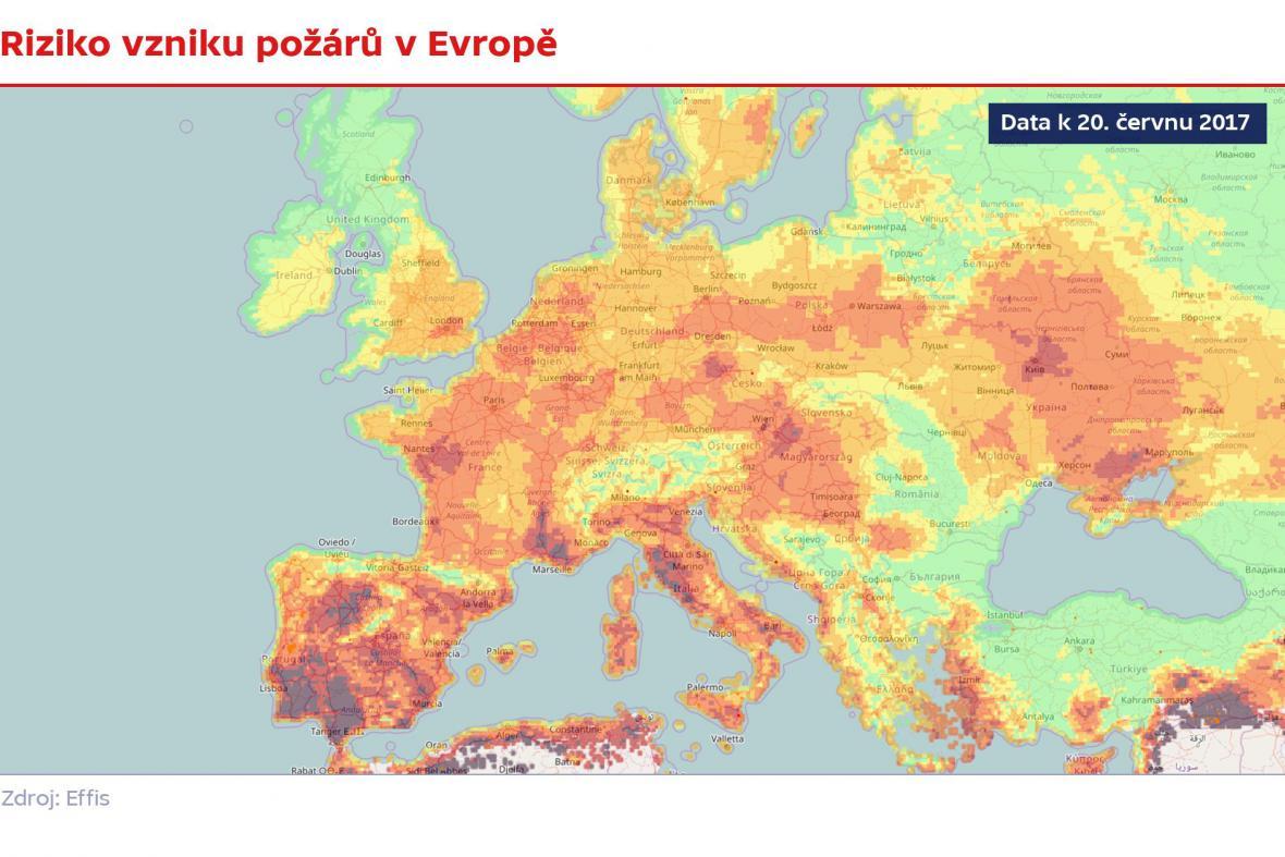 Riziko vzniku požárů v Evropě