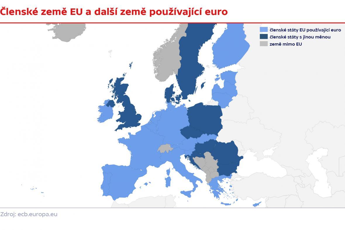 Mapa zemí s eurem