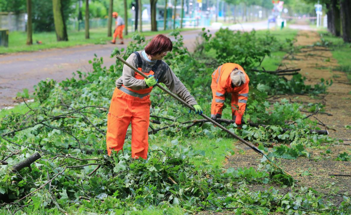 Následky bouře v Magdeburku