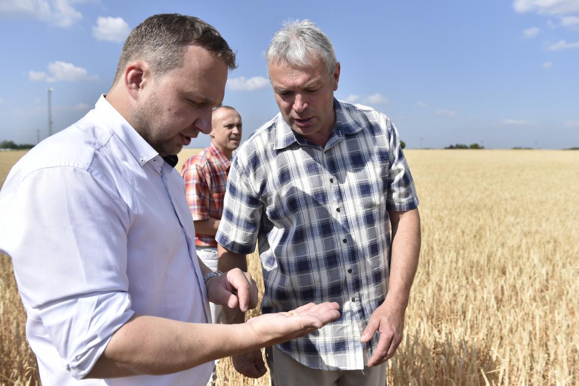 Ministr zemědělství Jurečka (vlevo) diskutuje o suchu se znojemskými zemědělci