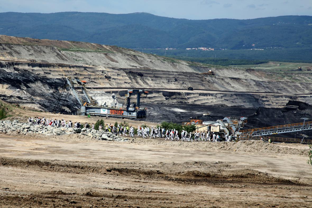 Protest proti těžebním limitům na Mostecku
