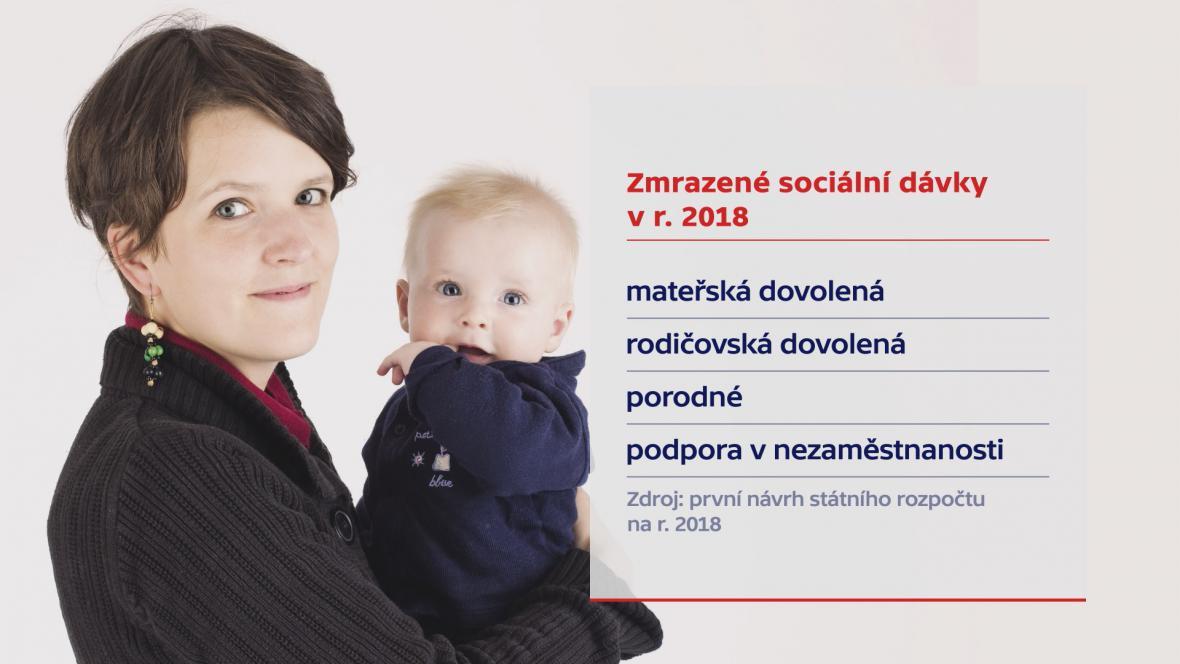 Zmrazené sociální dávky pro rok 2018