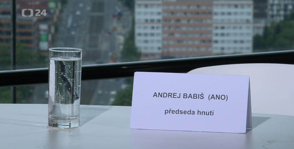 Místo vyhrazené pro předsedu hnutí ANO Andreje Babiše v OVM