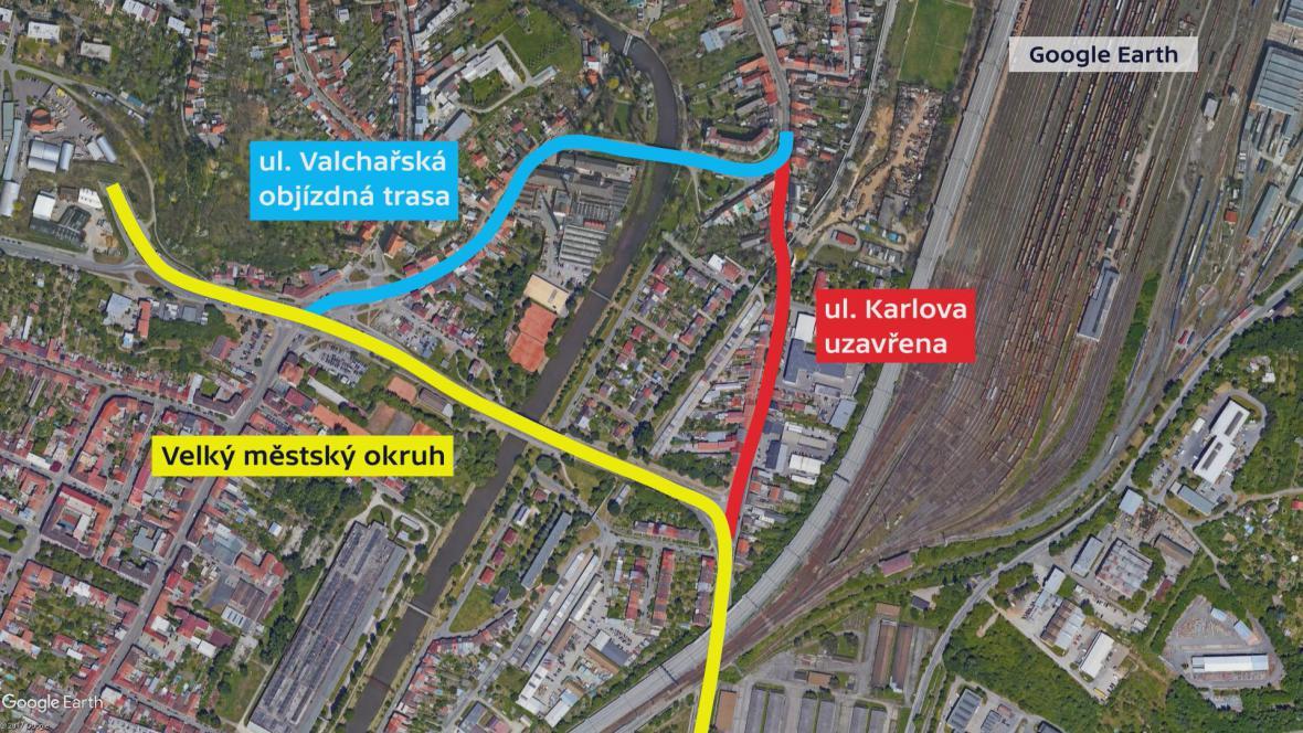 Uzavírka Karlovy ulice a objízdná trasa