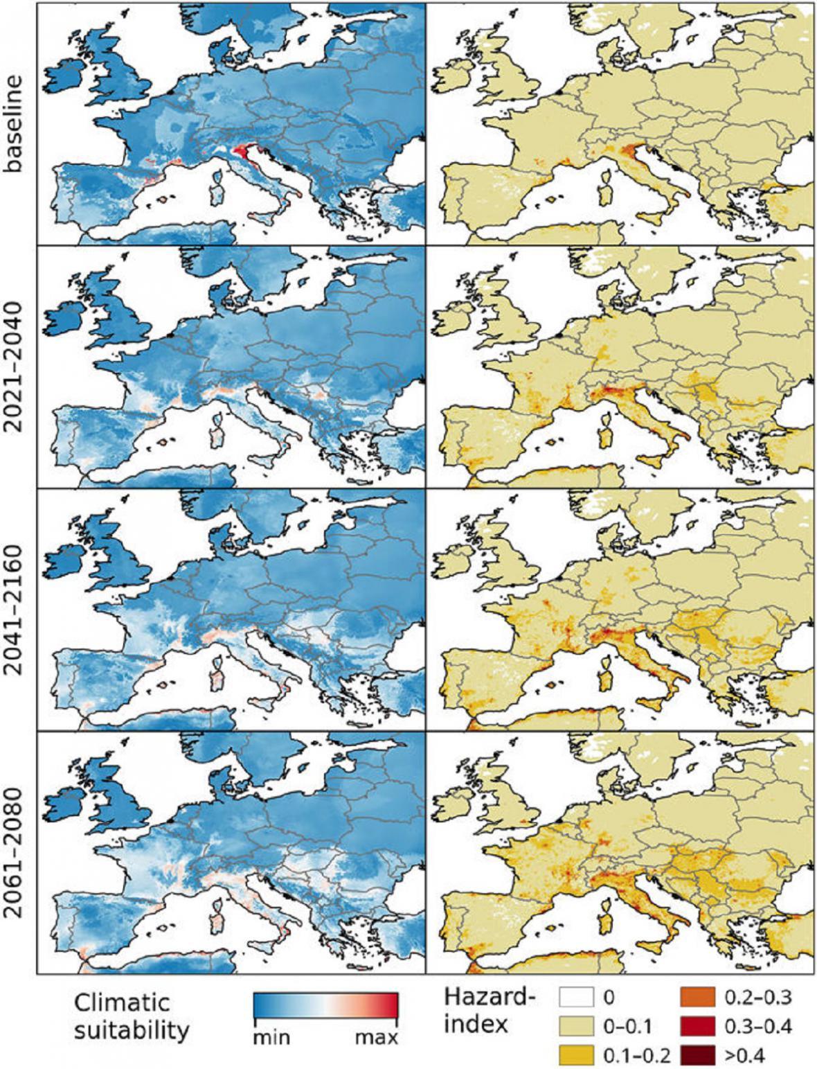 Šíření viru chikungunya v Evropě v optimistickém a pesimistickém scénáři