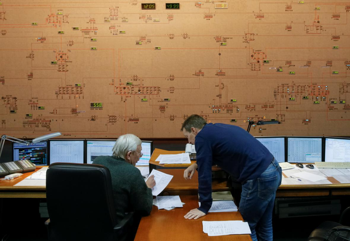 Kontrolní místnost společnost Ukrenergo