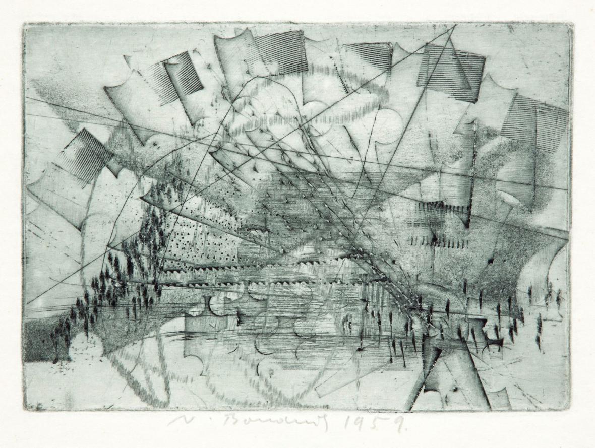 Vladimír Boudník / Stopy materiálů, aktivní grafika, 1959