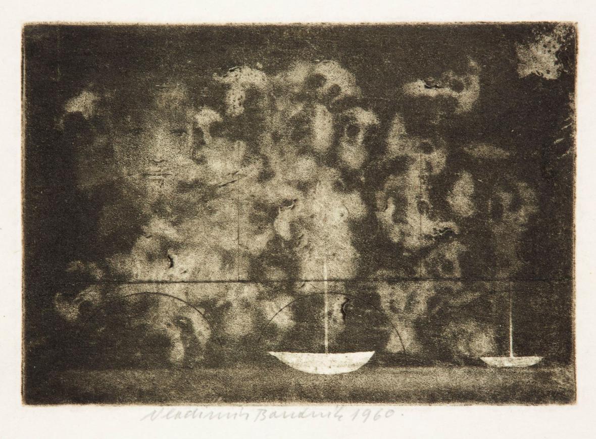 Vladimír Boudník / Zeď vzpomínek, mezzotinta s aktivní grafikou, 1960