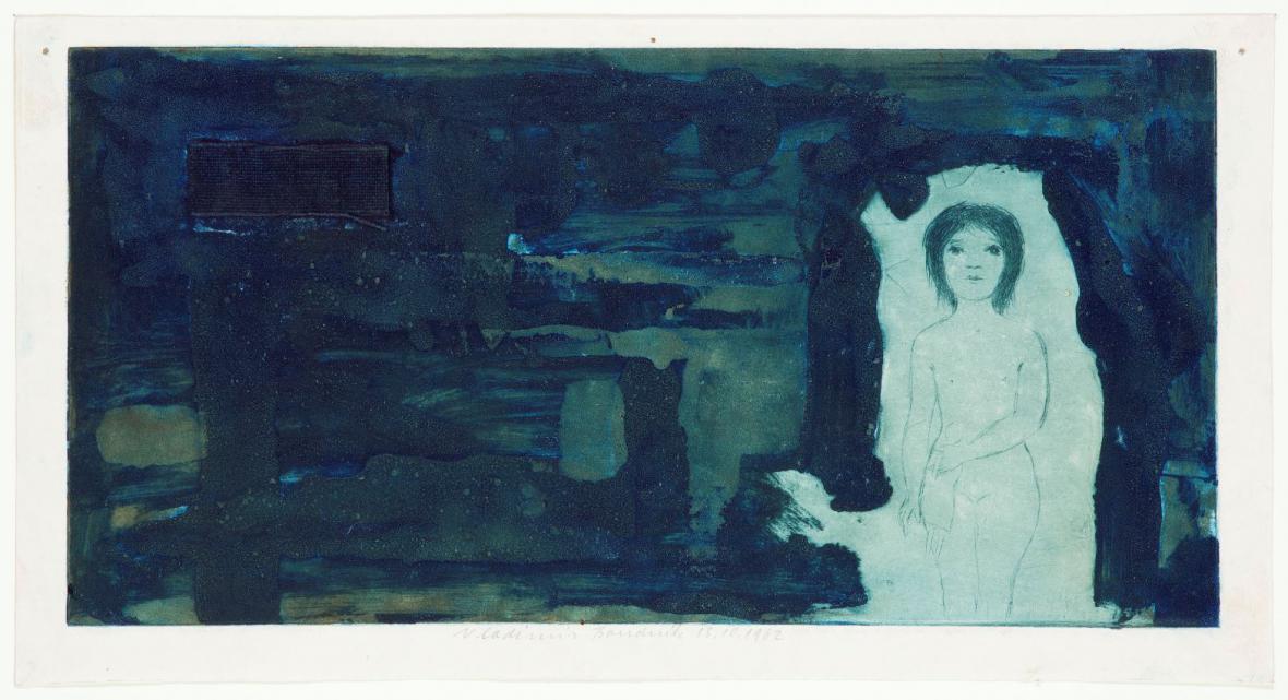 Vladimír Boudník / Dívka v jeskyni, strukturální grafika se suchou jehlou, 1962
