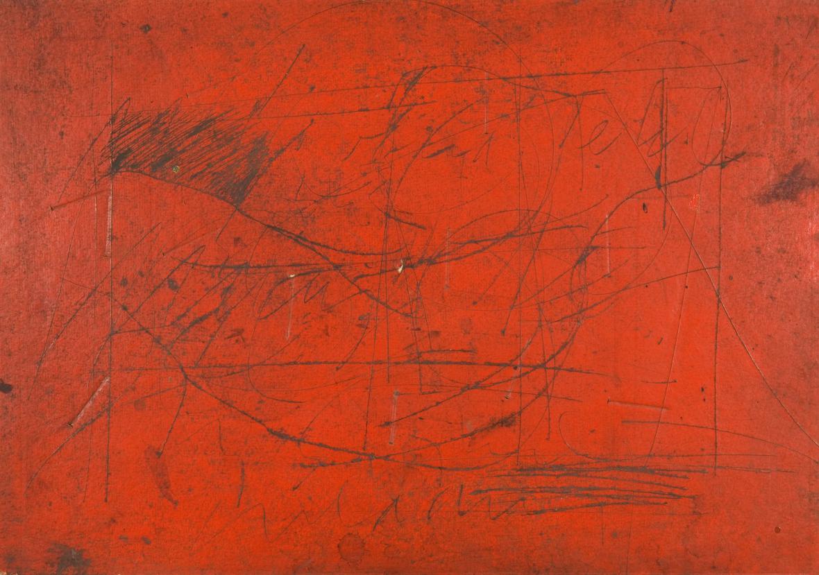 Vladimír Boudník / Dopis (matrice), 1967