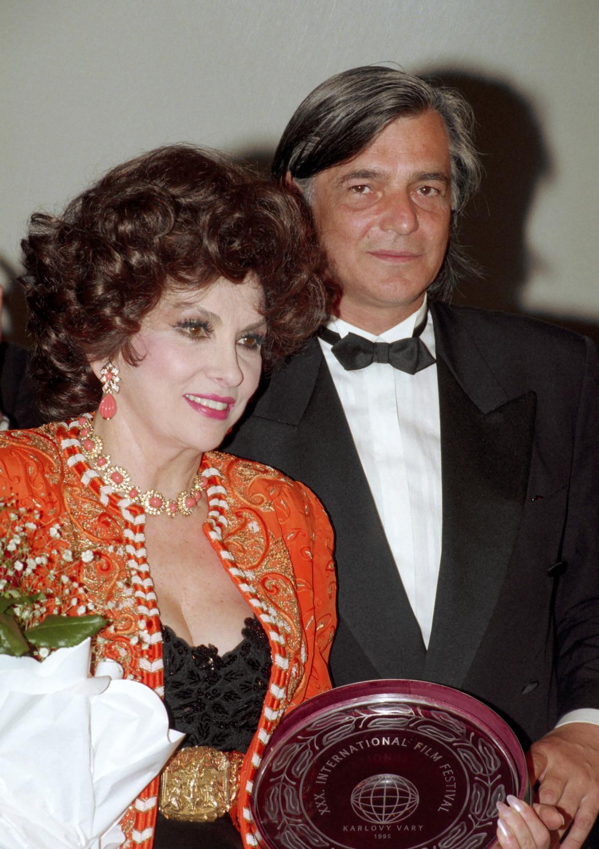 Gina Lollobrigida a Jiří Bartoška, Karlovy Vary (1995)