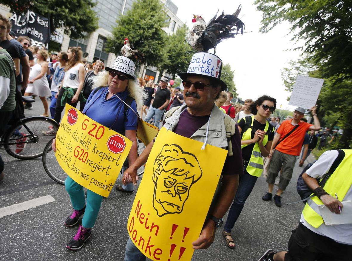 Demonstrace během summitu G20 v Hamburku