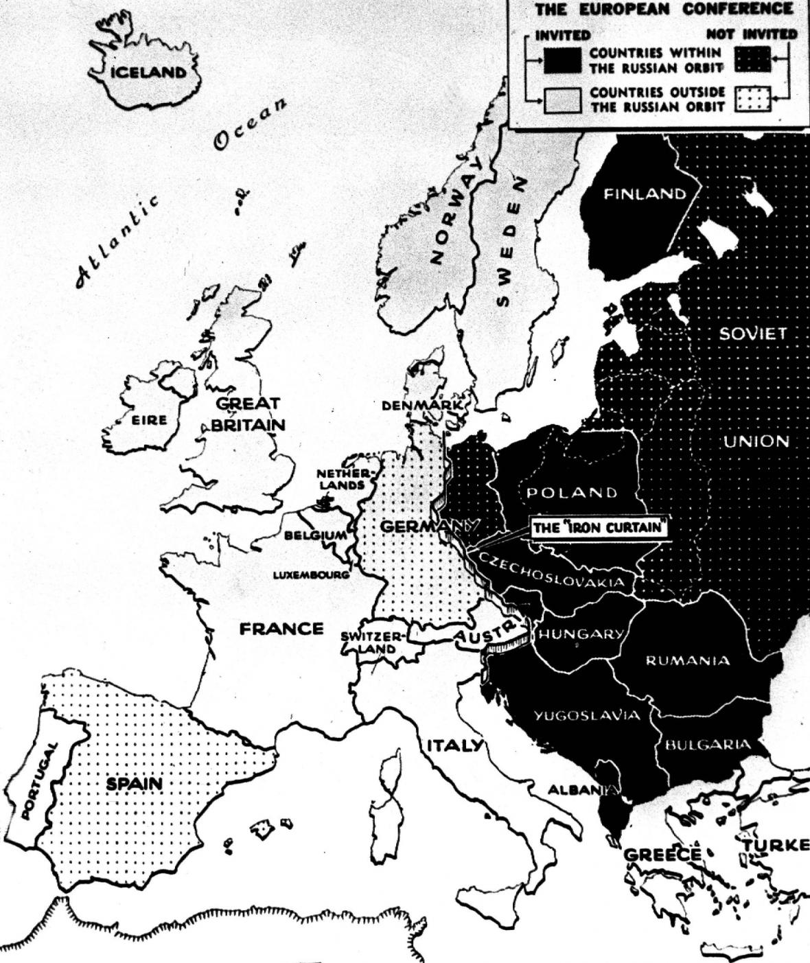Mapa zemí (ne)účastnících se Marshallova plánu. Německo je označeno jako země, která nebyla pozvána, plánu se ale Západní Německo účastnilo (Německo bylo pod okupační správou Spojenců)