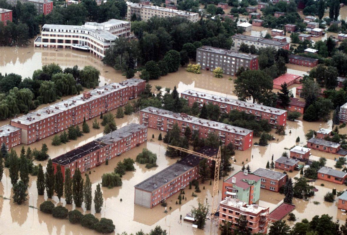 Zaplavené sídliště v Otrokovicích