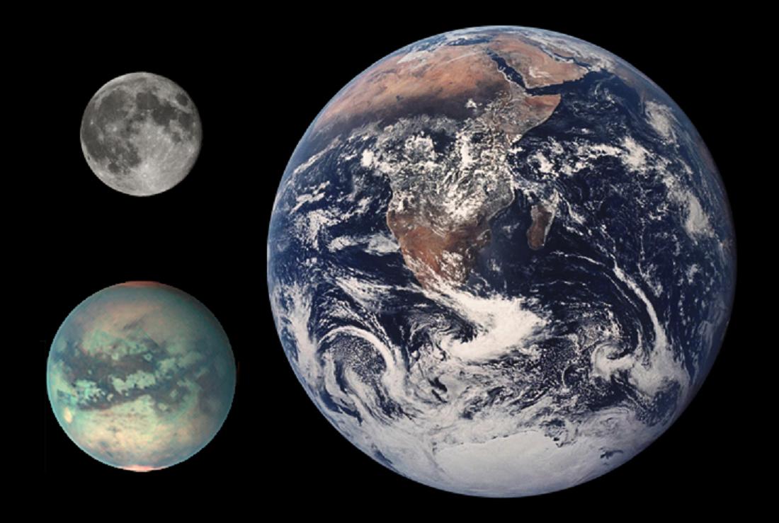 Titan, Měsíc a Země - srovnání velikostí