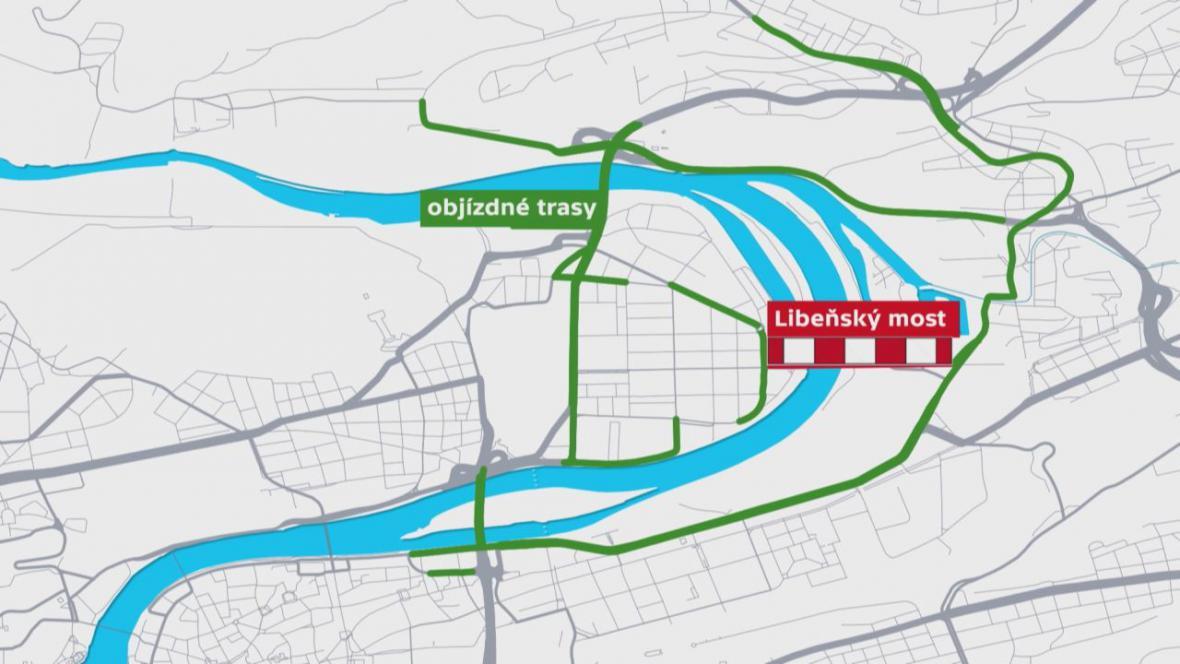 Objízdné trasy při uzavření Libeňského mostu