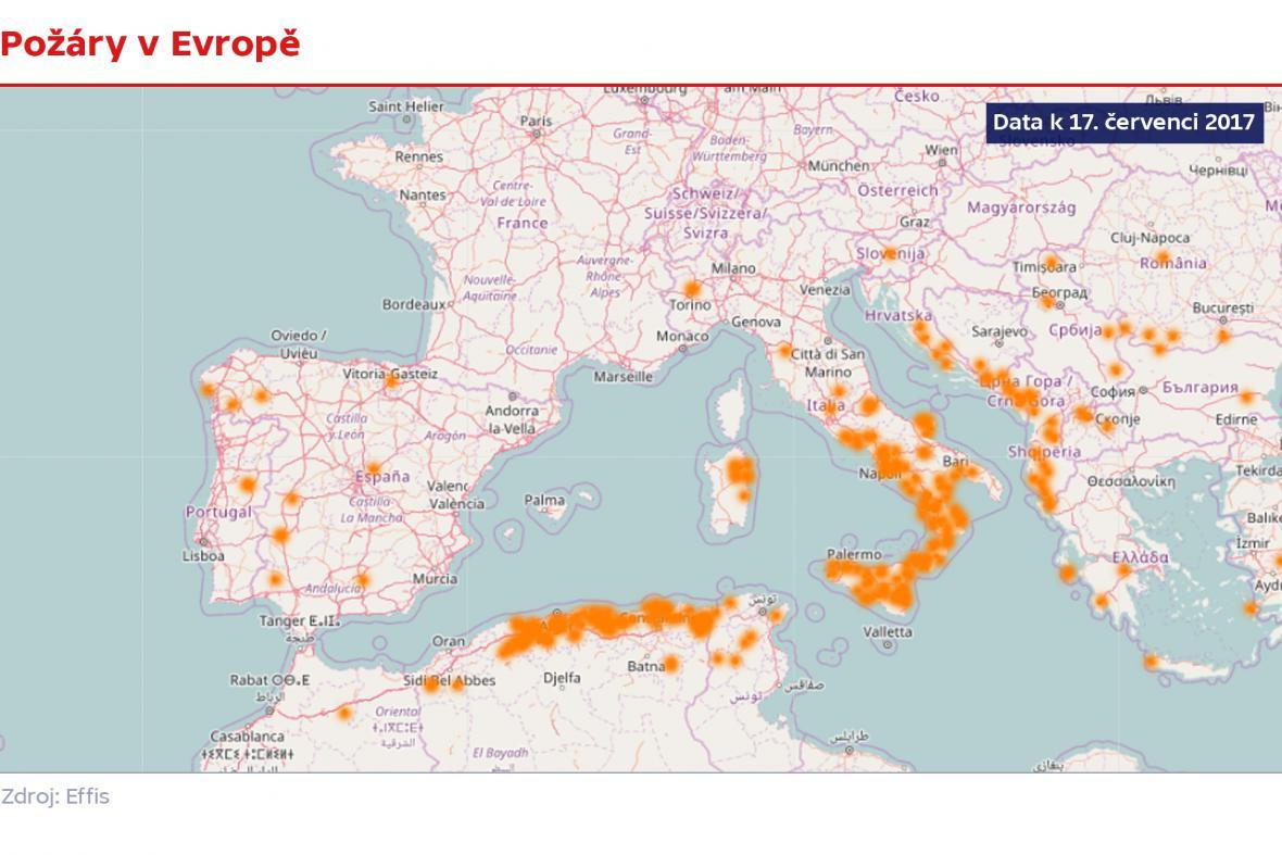 Požáry v Evropě (k datu 17. července 2017)