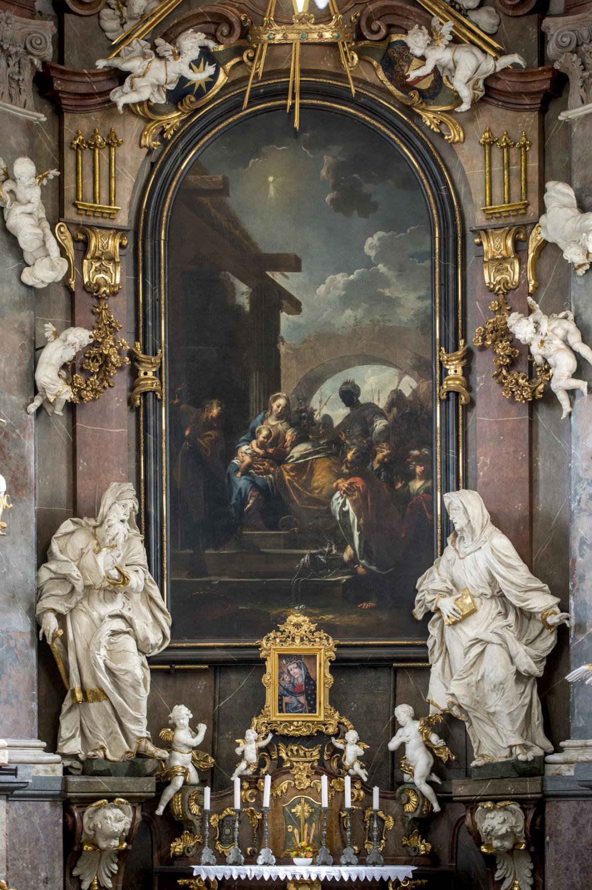 Brandlovo Klanění tří králů na oltáři ve Smiřicích