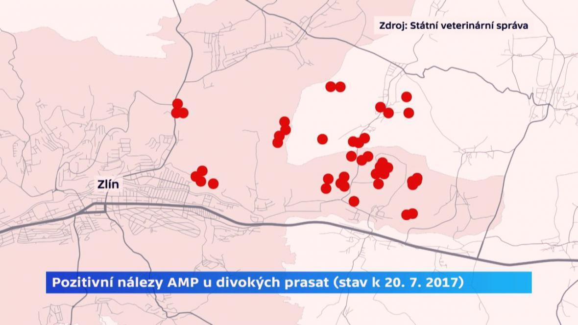 Pozitivní nálezy AMP u divokých prasat (k 20. 7. 2017)