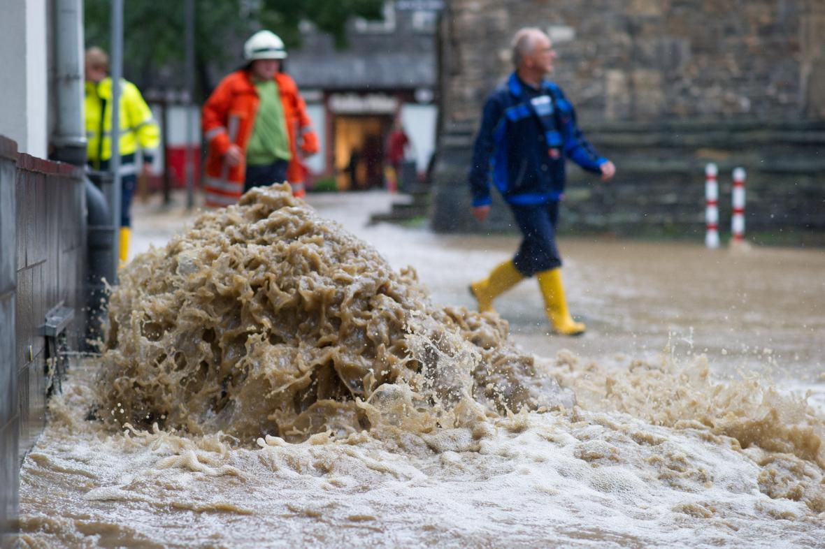Zaplavené centrum Goslaru