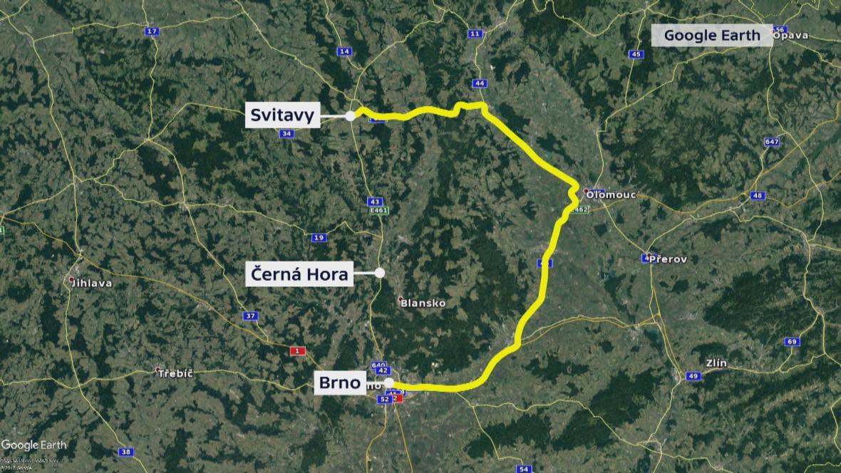 Mapa objízdné trasy z Brna do Svitav