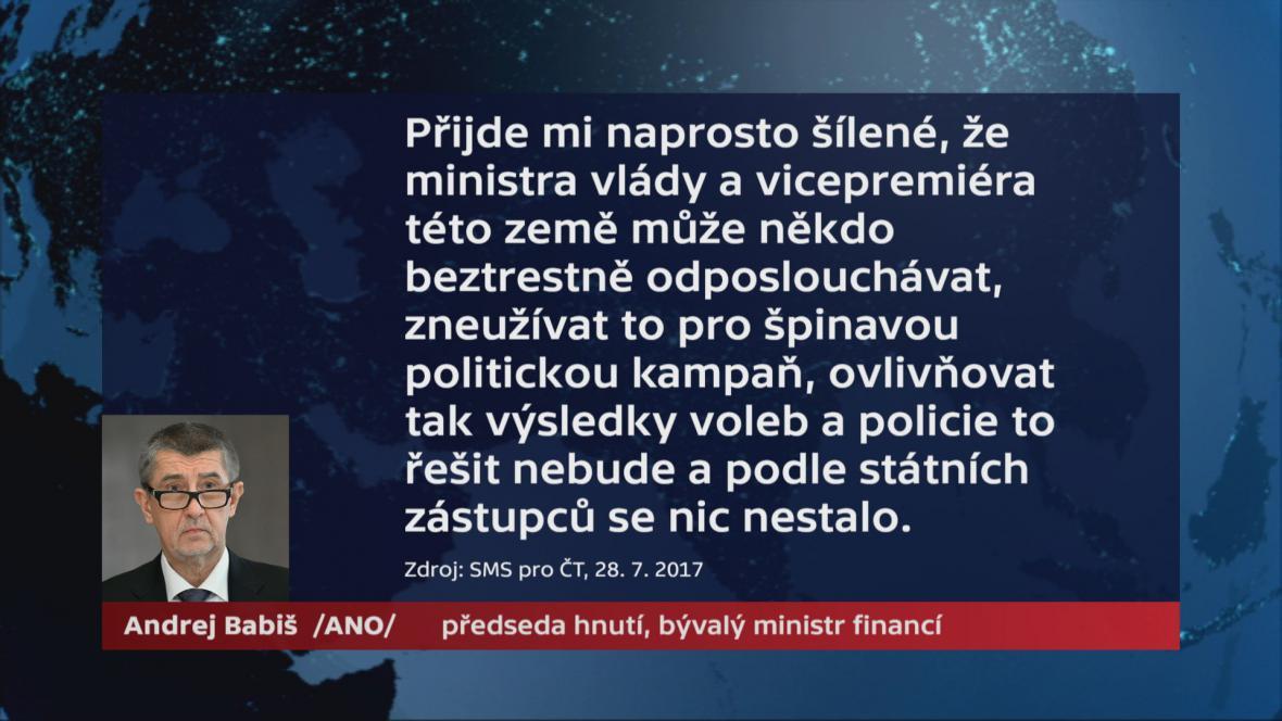 Andrej Babiš k odkladu trestního oznámení