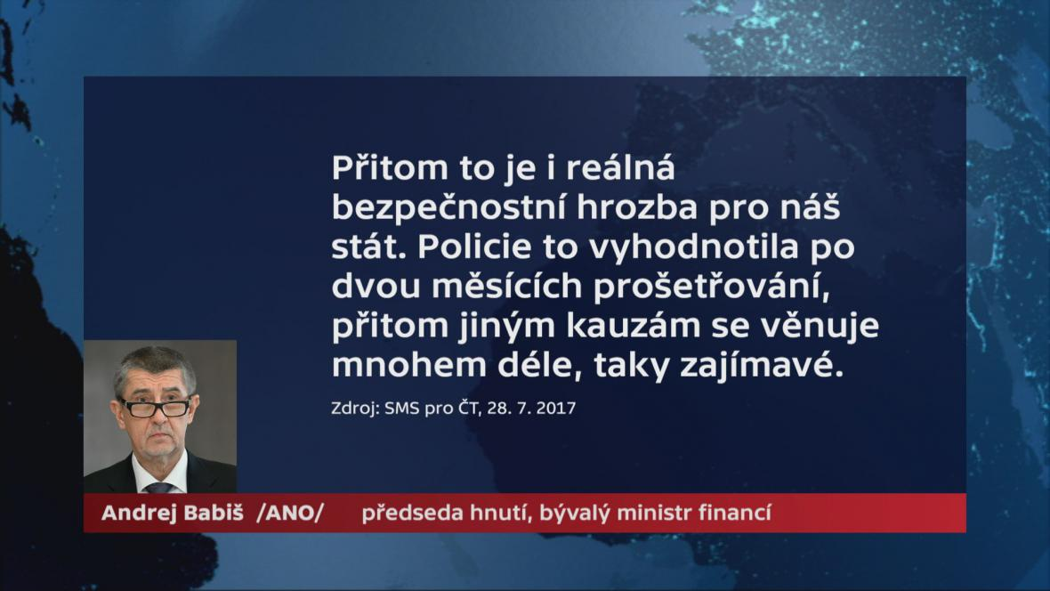 Andrej Babiš k odkladu trestního oznámení