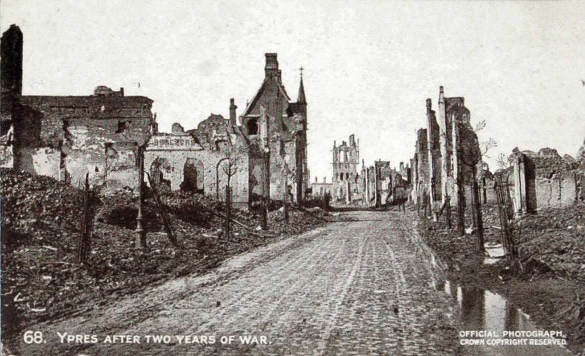 Město Ypres po skončení bojů