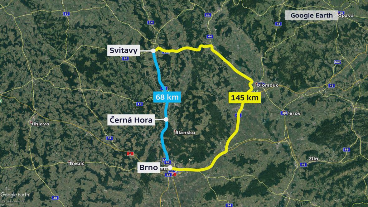 Objízdná trase z Brna do Svitav