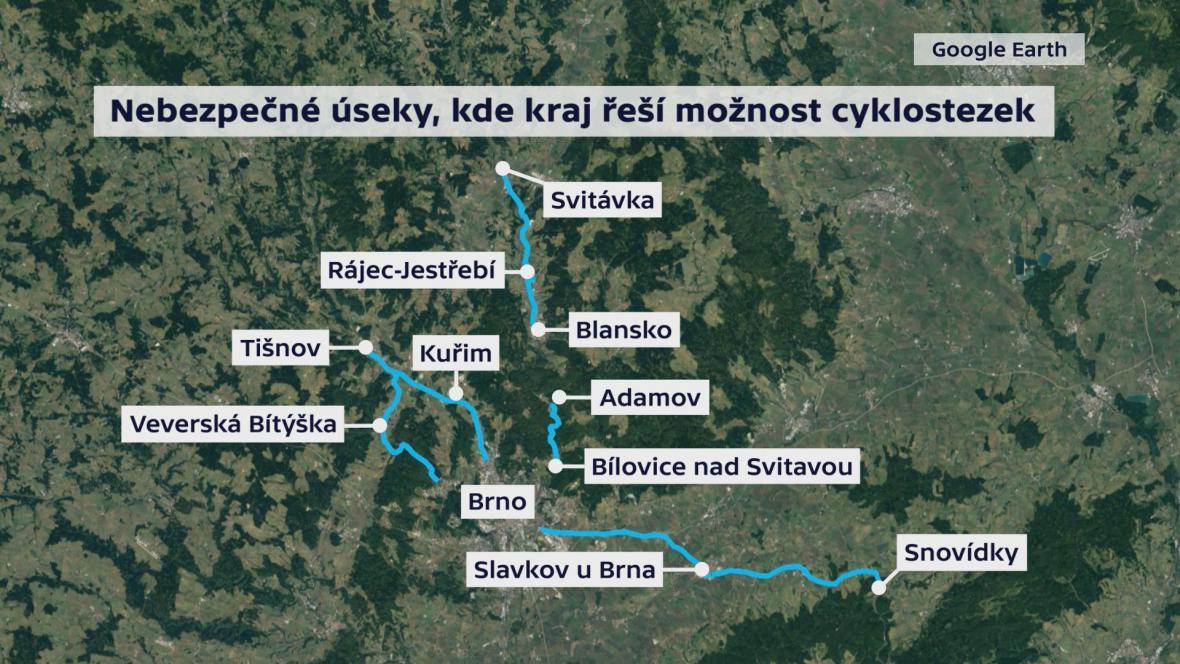 Nebezpečné úseky, kde Jihomoravský kraj řeší možnost cyklostezek