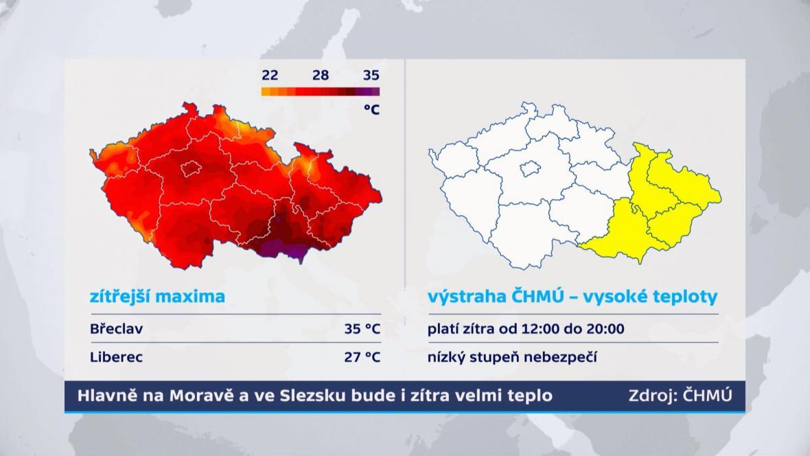 Na Moravě teplo i v pátek