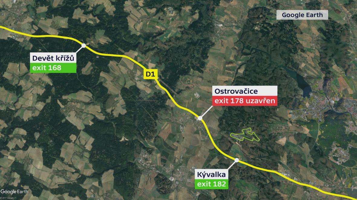 Uzavřený exit u Ostrovačic