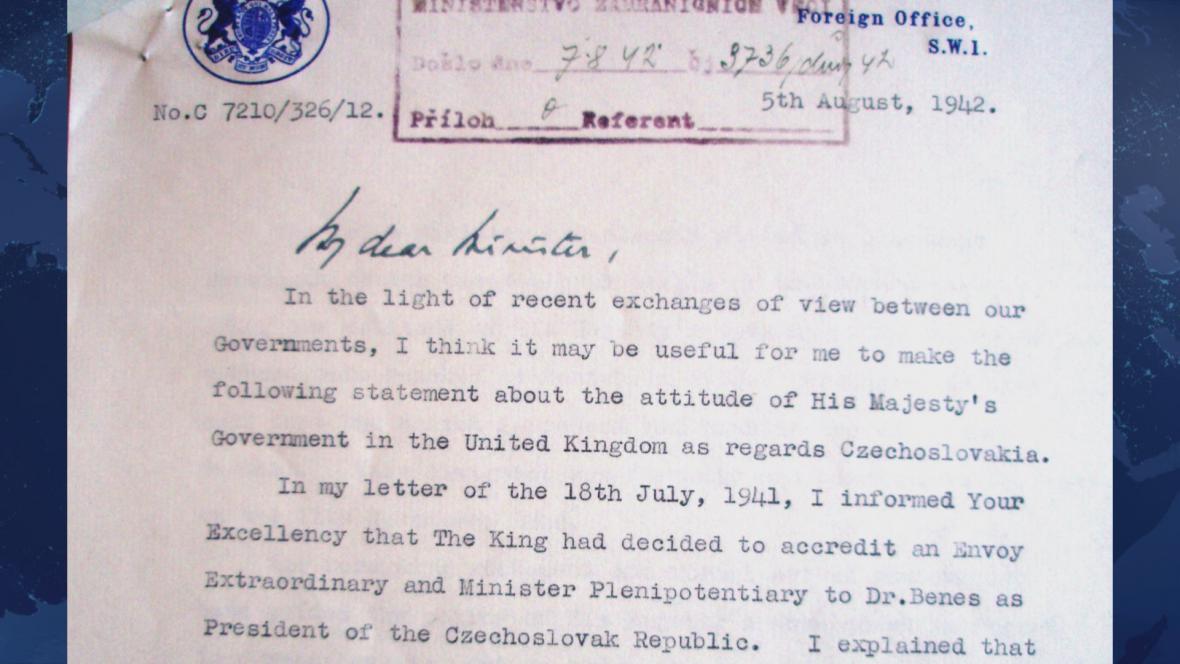 Ministr Eden potvrdil v dopise z 5. srpna 1942, že se Británie necítí být vázána mnichovskou dohodou
