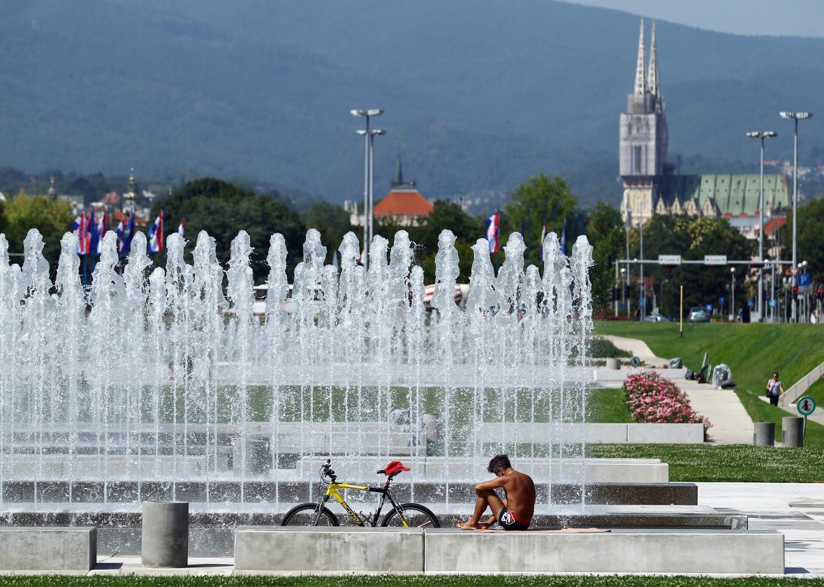 Park v centru chorvatského Záhřebu