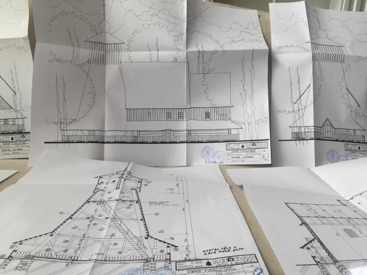 Projektová dokumentace použita při opravě kostela v roce 2012