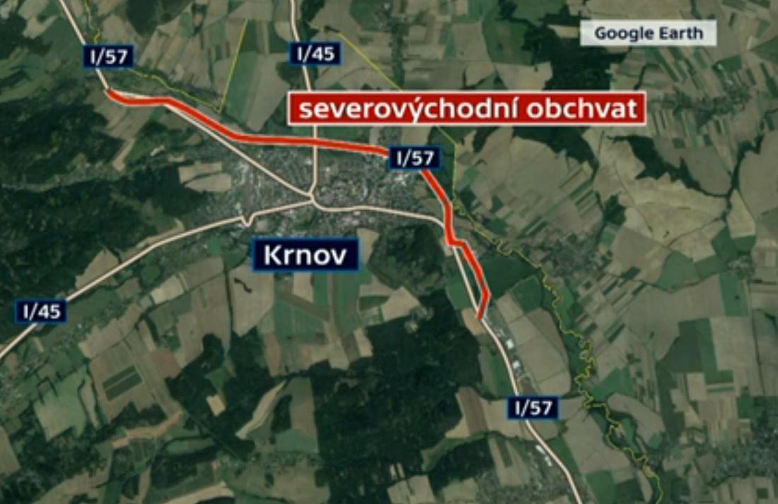 Mapa plánovaného obchvatu Krnova