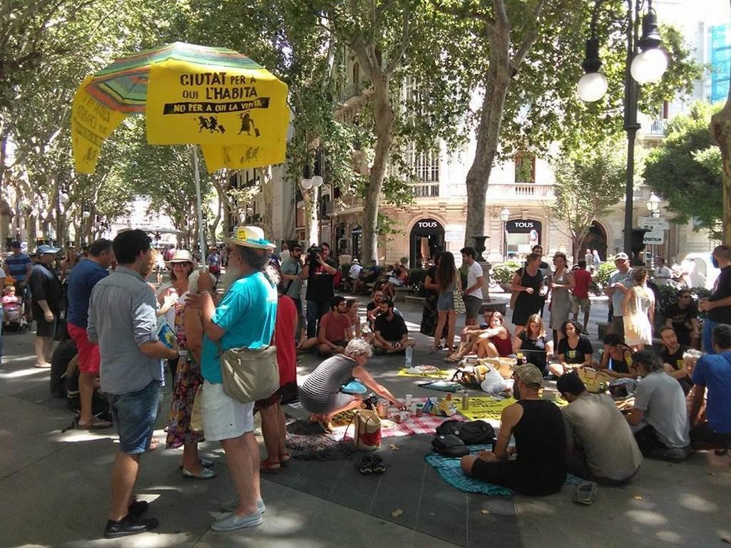 Protituristický protest v Barceloně