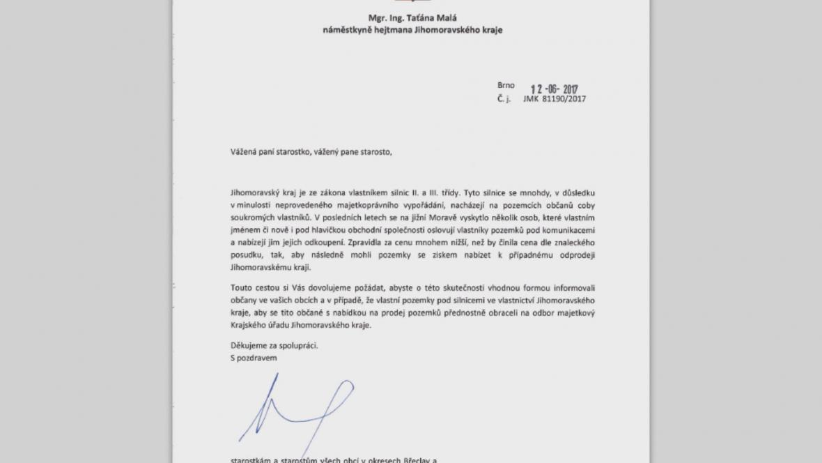 Dopis náměstkyně hejtmana Taťány Malé obcím