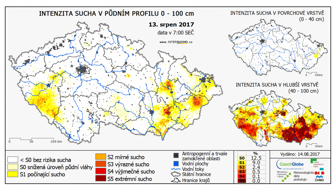 Intenzita sucha v ČR 13. srpna 2017