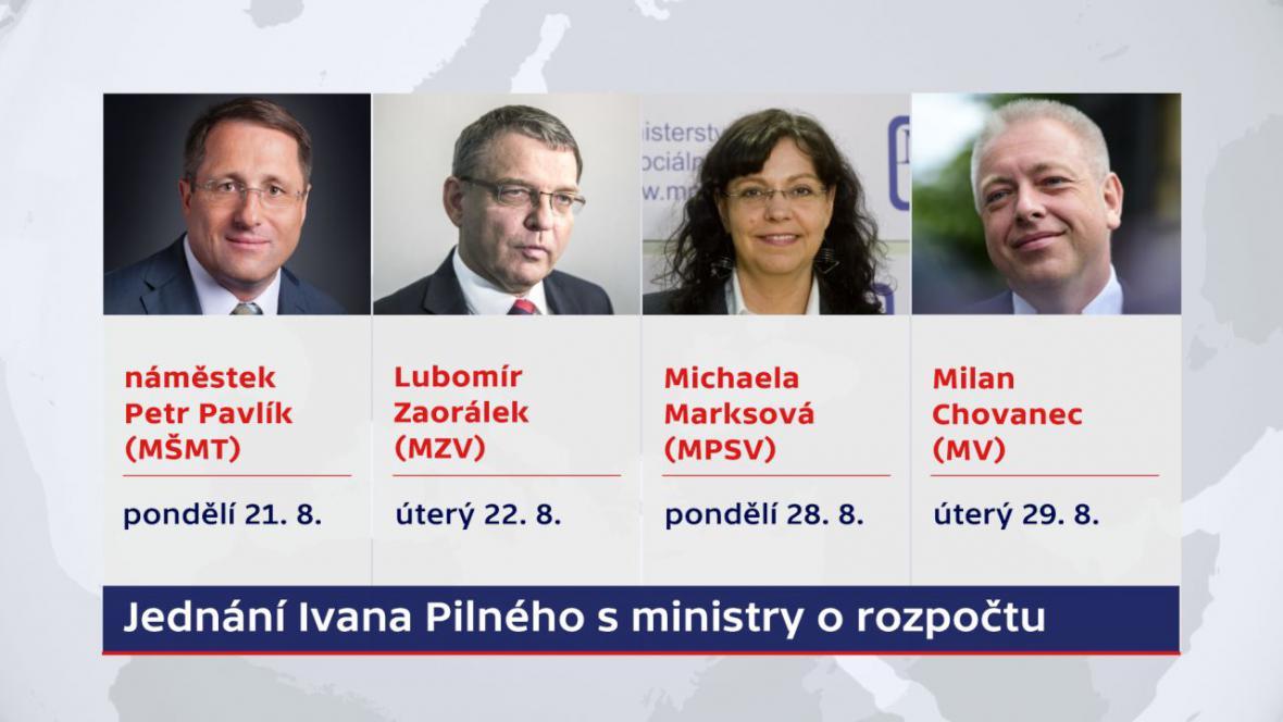 Jednání Ivana Pilného s ministry o rozpočtu