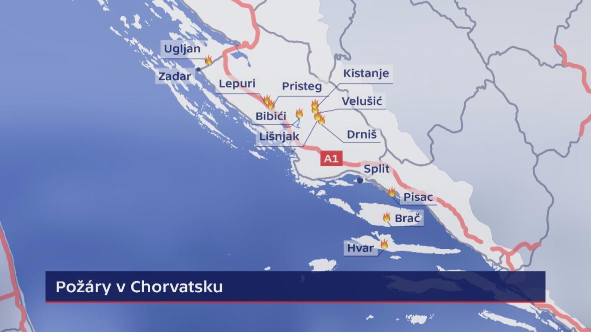Požáry v na jadranském pobřeží Chorvatska