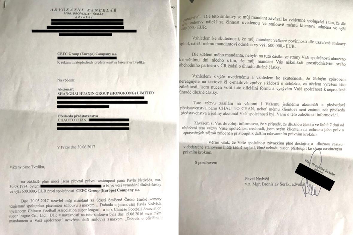 Dopis Nedvědova advokáta