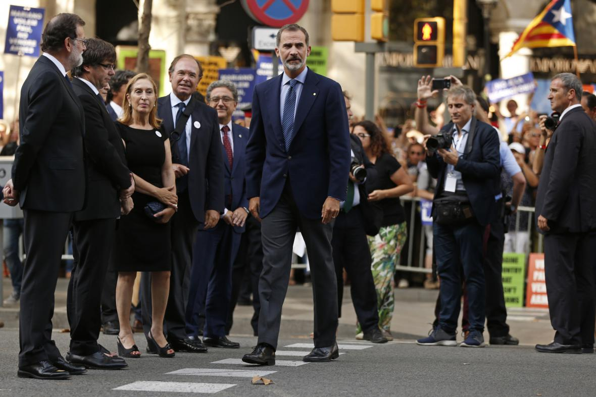 Španělský král na manifestaci v Barceloně