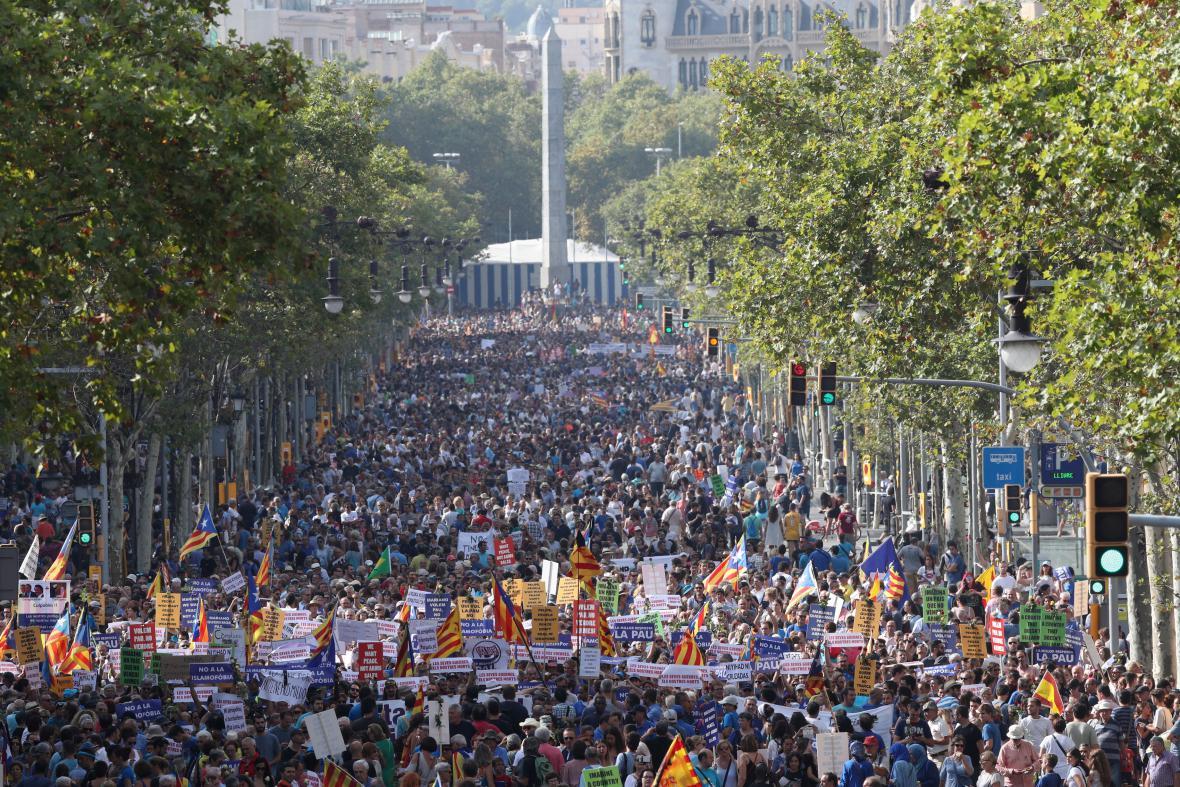 Pochod proti terorismu v Barceloně