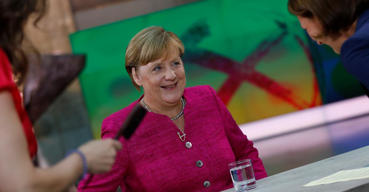 Angela Merkelová během rozhovoru v televizi ZDF