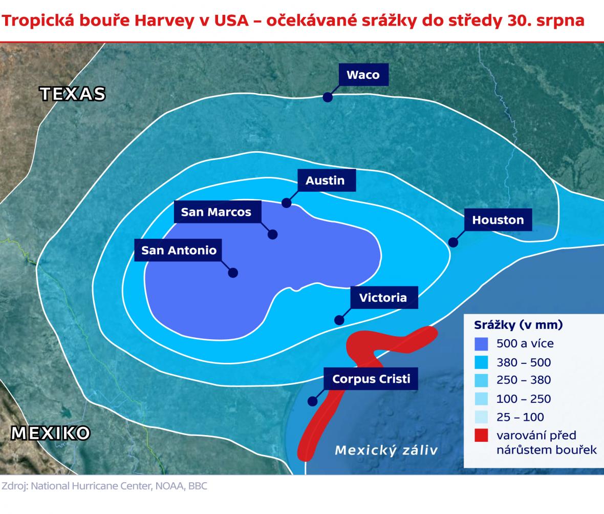 Tropická bouře Harvey v USA – očekávané srážky do středy 30. srpna